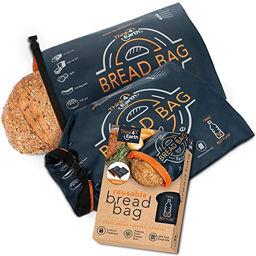 Think4earth - (2 Pack) Linen Bread Bag - Reusable freezer bread bag for homemade bread maker gift giving - Bread Container for Sourdough Loafs Storage, Large Bread Bags for Homemade Bread with Lining