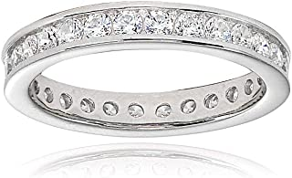 Sterling Silver Cubic Zirconia Round 2mm Channel Set Polished Eternity Band Ring