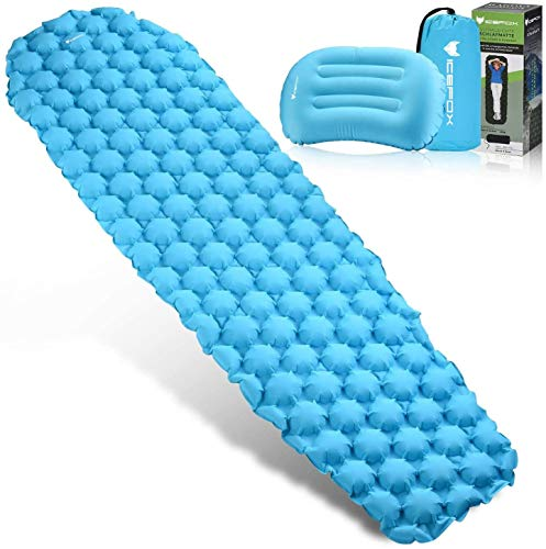 Icefox Camping Sleeping Pad with Pillow, Ultralight Self Inflatable Sleeping Mat for Backpacking, Traveling, Hiking Air Mattress - Lightweight, Inflatable & Compact, Camp Sleep Pad