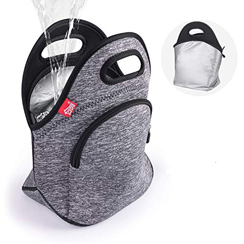 Waterproof Insulated Lunch Bag Grey Lunch Bags for Women and Men Reusable thermal Neoprene lunch cooler tote with Big Pockets