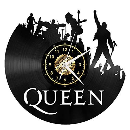 Queen Rock Band Orologio da Parete in Vinile Nero Vintage Orologio da Parete Wall Art 3D Design Moderno Ufficio Bar Room Home Decor Fan Regalo Rock N Roll
