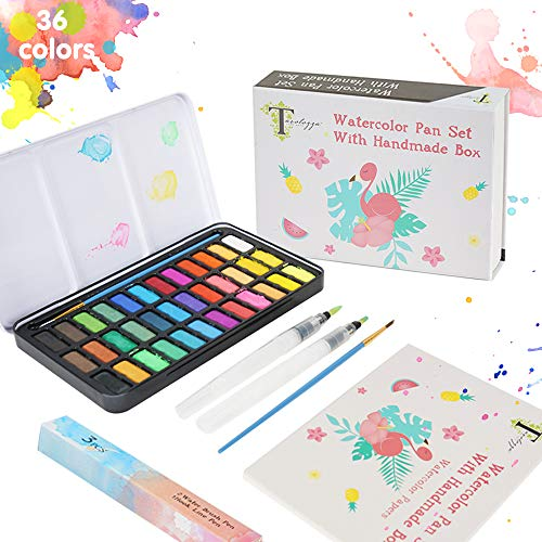 Tavolozza 50 Pcs Watercolor Paint Set 36 Assorted Watercolor for Artists, Students and Beginners
