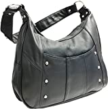 Leather Concealed Carry Gun Purse Left/Right Hand W/ Locking Zipper, Black