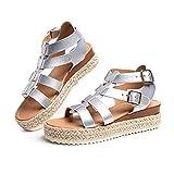Sandalias Mujer Alpargatas Plataformas Romano Cuña Hebilla Gladiador Zapatos Verano Playa Punta Abierta Tacon 5.7cm...
