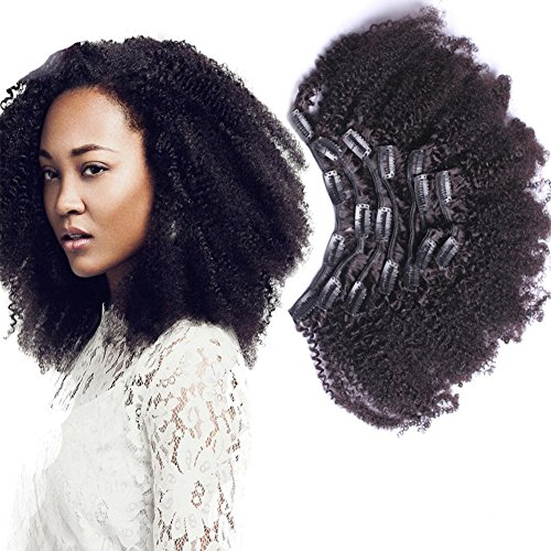 African American Afro Kinky Curly Clip In Human Hair Extensions Brazilian Virgin Hair Natural Color 4B 4C Afro Kinky Curly Clip Ins 10inch 7pcs/lot,120gram/set