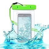 kwmobile Custodia Impermeabile Borsa da Spiaggia per Smartphone - Beach Bag per Cellulare - Protezione Acqua Sabbia - Astuccio 16,5 x 9,5 cm - Verde/Trasparente