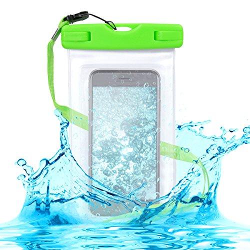 kwmobile Funda Impermeable de Playa para Smartphone - Carcasa con Cinta para Colgar de plástico - Case Sumergible Verde/Transparente
