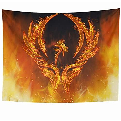Tapices para colgar en la pared Burn Blazing Phoenix Pájaro abstracto con alas de llamas Rising Reencarnation Signs Symbols Fire Myth Tapiz Manta de pared Decoración del hogar Sala de estar Dormitorio