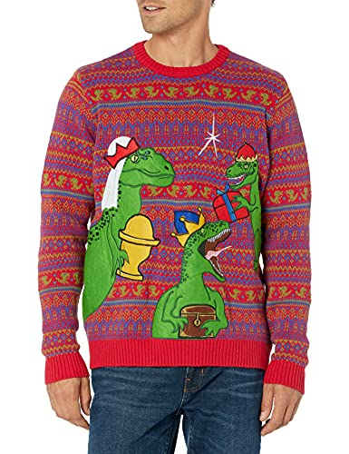 Blizzard Bay Men's Three Clever Girls Ugly Christmas Sweater, Red/Green, Large