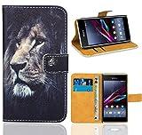 Sony Xperia E1 Housse Coque, FoneExpert Etui Housse Coque en Cuir Portefeuille Wallet Case Cover pour Sony Xperia E1