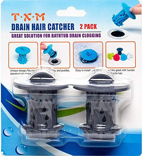 TXM Drain Hair Catcher 2 Pack Tub Shower Drain Protector Sink Drain Strainer Hair Trap Filter product image