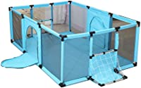 L.TSA Baby Play Yard, Extra Large Kids Safety Activity Centre, Child Baby Girs Boys Outdoor Indoor Portable Play Pen, Blue, 180x120x62cm