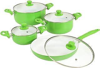 vidaXL Juego Sartenes Ollas 8 Pzas Revestimiento Cerámico Aluminio Utensilios Cocina Sartén + 3 Cazuelas + 4 Tapas Vidrio Batería Cocina Verde Blanco