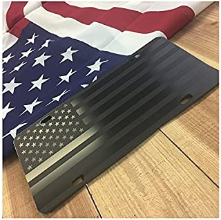 JASS GRAPHIX Hidden American Flag License Plate Matte Black on 1/8