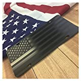 JASS GRAPHIX Hidden American Flag License Plate Matte Black on 1/8' Black Aluminum Composite Heavy Duty Tactical Patriot USA Car Tag