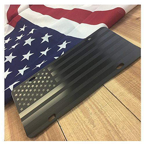 JASS GRAPHIX Almost Invisible Hidden American Flag License Plate Matte Black on 1/8' Black Aluminum Composite Heavy Duty Tactical Patriot USA Car Tag