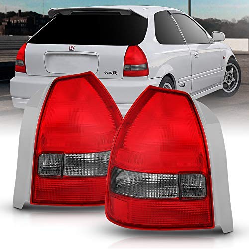 AmeriLite Replacement Rear Brake Taillights Red Smoke Pair for 96-00 Honda Civic 3Dr Hatchback - Passenger and Driver Side 3dr Hatchback Oem Replacement