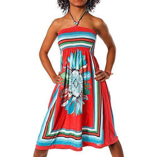 Diva-Jeans Damen Sommer Aztec Bandeau Bunt Tuch Kleid Tuchkleid Strandkleid Neckholder H112, Farbe: F-027 Rot, Größe: Einheitsgröße