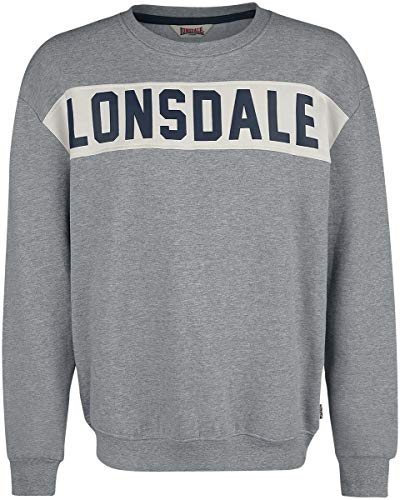 Lonsdale London Mens HETHERSETT Sweatshirt, Marl Grey, Extra Large