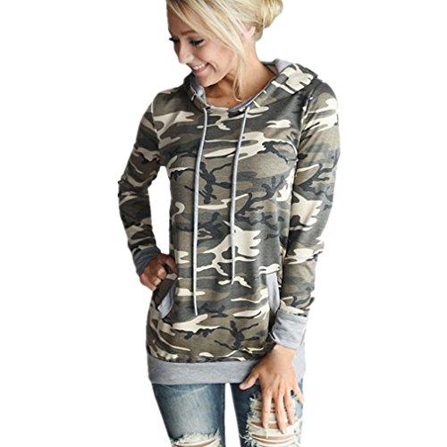 Kolylong Sweat-Shirts Femme Le Camouflage Impression Capuche Manches Longues Ensemble de tête Pull Chemises Blouses Hauts T-Shirts (L-Buste:39.4\
