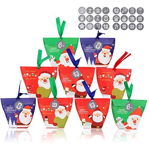 FORMIZON 24 Cajas de Regalo Navidad, Bolsa para Calendario de Adviento, Navidad Bolsas de Regalo con 24 Pegatinas para Navidad, Fiesta DIY Calendarios Adviento (A)