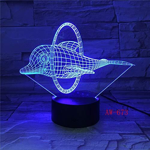 Jiushixw 3D acryl nachtlampje met afstandsbediening van kleur veranderende bureaulamp schattig dolfijn design bureaulamp als geschenk voor kinderen en kinderkamer crème tafellamp