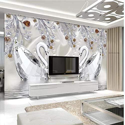 Selbstklebende Tapeten Tapeten Wohnzimmer Rasch Tapeten Original Crystal Diamond Schwanensee Romantische Ästhetik Schmuck Hintergrund Tv Wand, 300Cm * 210Cm