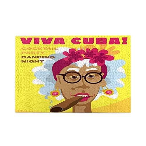 KIMDFACE Rompecabezas Puzzle 1000 Piezas,Caricatura de Mujer Cubana con Tocado Floral y aretes Viva Cuba Slogan Cartoon,Educa Inteligencia Jigsaw Puzzles para Niños Adultos