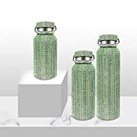 NEW Diamond Thermos Water Bottle Rhinestone Thermos Cup Diamond Vacuum Flask Sparkling High-end Insulated Bottle 350ml/500ml/750ml/LED with Lid 750ML Green