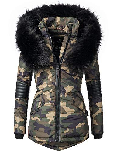 Navahoo Damen Winter Jacke Steppjacke Nirvana (vegan hergestellt) Camouflage Gr. M