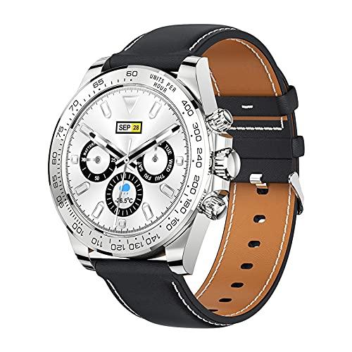 QFSLR Smartwatch Hombre, Reloj Inteligente Impermeable 68 con Monitor De Frecuencia Cardíaca Seguimiento del Sueño Control De Músic, Reloj Deportivo para iOS Y Android,Plata