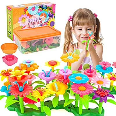AOKIWO 146 Pcs Gifts Toys for 3-7 Year Old Girls, DIY Flower Garden Building Toys Set Educational Creative Gardening Playset for Kids by AOKIWO