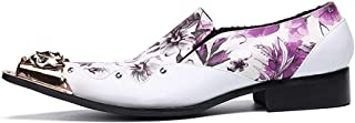 S.Y.M Men Shoes Men's Novelty Shoes Nappa Leather Fall & Winter Casual British Loafers & Slip-Ons Non-slipping Purple