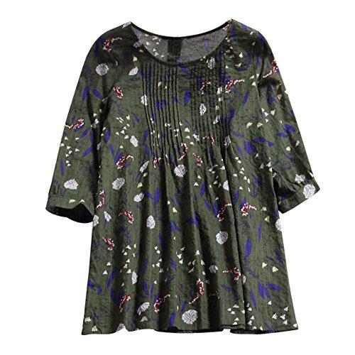Fudule 3/4 Mouw Blouses Losse Katoen Linnen T-Shirts voor Vrouwen Bloemen Print Pullover Dames Casual Losse Tuniek Tops