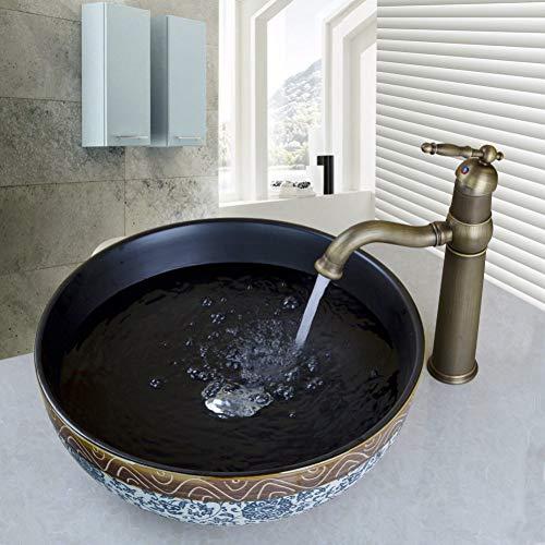 WEILINW Keramik Waschbecken Wasserhahn Set Badezimmer Keramik Rundwaschbecken Antik Messing Deck montiert Hahn Mixer Wasserhahn