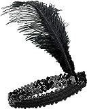 Diadema Charleston – Talla única para adulto con lentejuelas y pluma, color negro