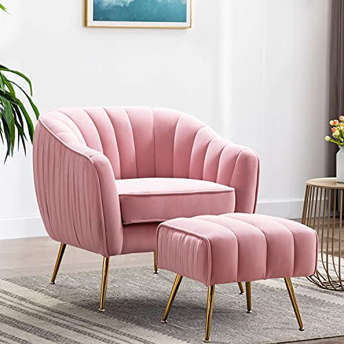 Altrobene Accent Chair Ottoman Set, Modern Club Chair with Footstool for Living Room / Bedroom / Home Office, Velvet Upholstered, Curved Tufted, Golded Finished, Blush Pink
