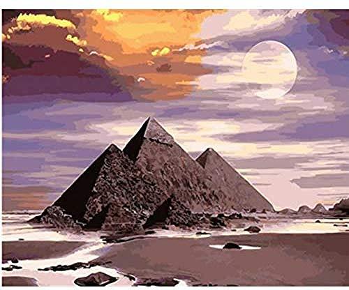 Pirámides Egipcias Pintura Dibujo por Números Kits Pintura para Adultos Niños 40x50cm-With Frame