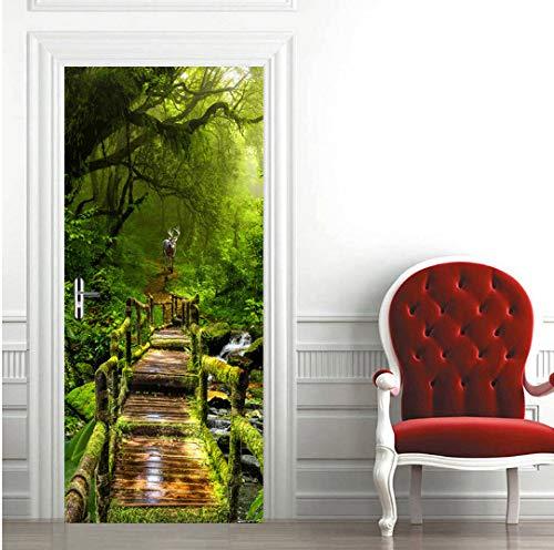 MNJKH Türaufkleber Wandbild, Waldtür Aufkleber Wandbild 3D Foto Wallpaper für Wohnzimmer Türaufkleber Vinyl Tür Tapete Home Decoration 3D