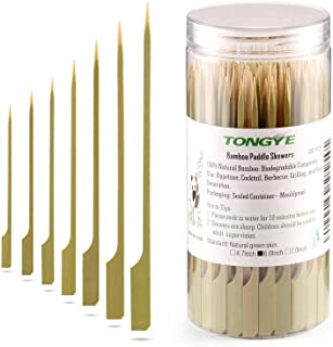 TONGYE Bamboo Paddle Skewers 6 Inch, Food Grade Cocktail Picks, Barbecue Sticks. Decoration for Party Food, Appetizer, Fruit, Shish Kabob, Sausage, Burger, Sandwich. (200PCS Green Skin)
