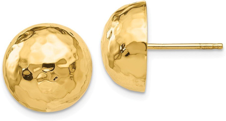 Beautiful Yellow gold 14K Yellowgold 14k Hammered Half Ball Post Earrings