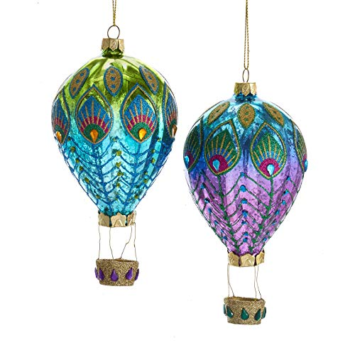 Kurt Adler Peacock Hot Air Balloon Christmas Holiday Ornaments Set of 2 Glass