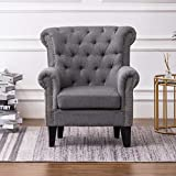 INMOZATA High Back Armchair Grey Linen Fabric Accent Tub Chair with Spring Foam in Seat Occasional Chairs for Living Room Bedroom (Grey)