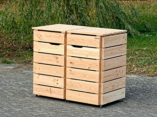 2er Mülltonnenbox / Mülltonnenverkleidung 120 L Holz, Douglasie Natur - 3