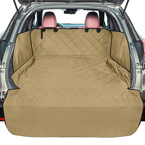 F-color SUV Cargo Liner for Dogs, Waterproof Pet Cargo Cover with Side Flap Protector Dog Seat Cover Mat for SUVs Sedans Vans with Bumper Flap, Non-Slip, Large Size Universal Fit, Khaki