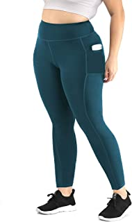 Uoohal Women Plus Size Leggings Yoga Pants with Pockets High Waisted Activewear Workout Capri