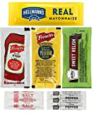 Includes 50 Packets of Each - 300 Total Packets (**Quantity of each may slightly vary due to packing inconsistencies**) Includes: Hellmann's Real Mayonnaise, French's Tomato Ketchup, French's Yellow Mustard, Heinz Sweet Relish, and Salt and Pepper No...