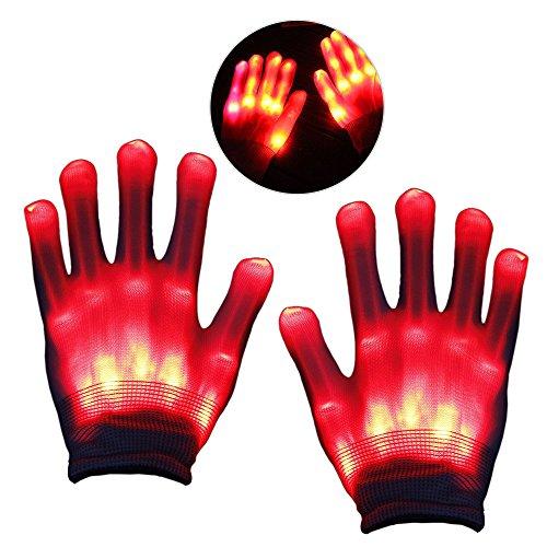 KITY Geschenke für Jungen 4-11 Jahre,LED Leucht Handschuhe Geburtstagsgeschenk für Mädchen 3-12 Jahre Jungen, Blink Party Leuchthandschuhe für Karneval oder Mottoparties Kindertag(Rot)