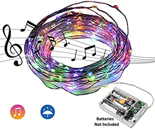 Beilf 32.8ft(10M) Sound Activated Music LED String Lights, Waterproof Copper Wire Multi-Color 100LEDs -11 Modes AA Battery Powered