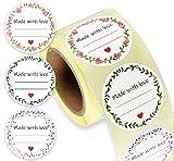 Etiketten I 250 runde Sticker auf Rolle I selbstgemacht I Mit Liebe gemacht I für Eingemachtes,...